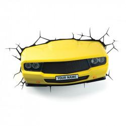 3D Yellow Muscle Car Wall Light