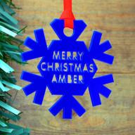 Personalised Coloured Acrylic Christmas Snowflake Bauble