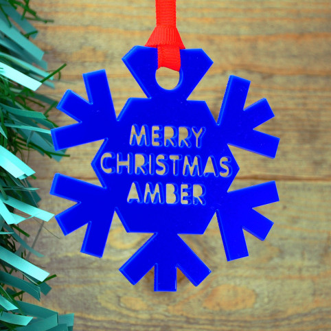 Personalised Coloured Acrylic Christmas Snowflake Bauble